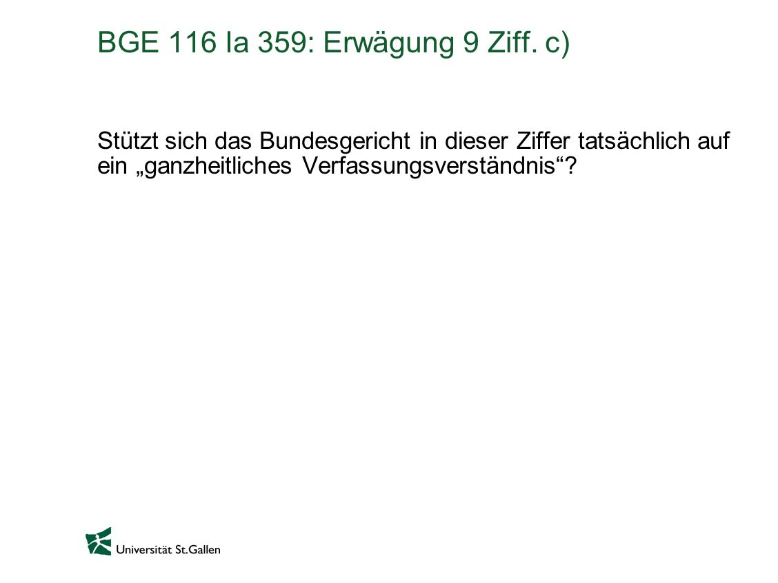 BGE 116 Ia 359: Erwägung 9 Ziff. c)