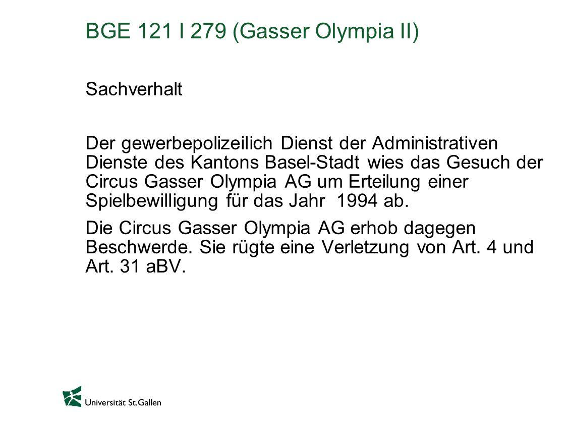 BGE 121 I 279 (Gasser Olympia II)