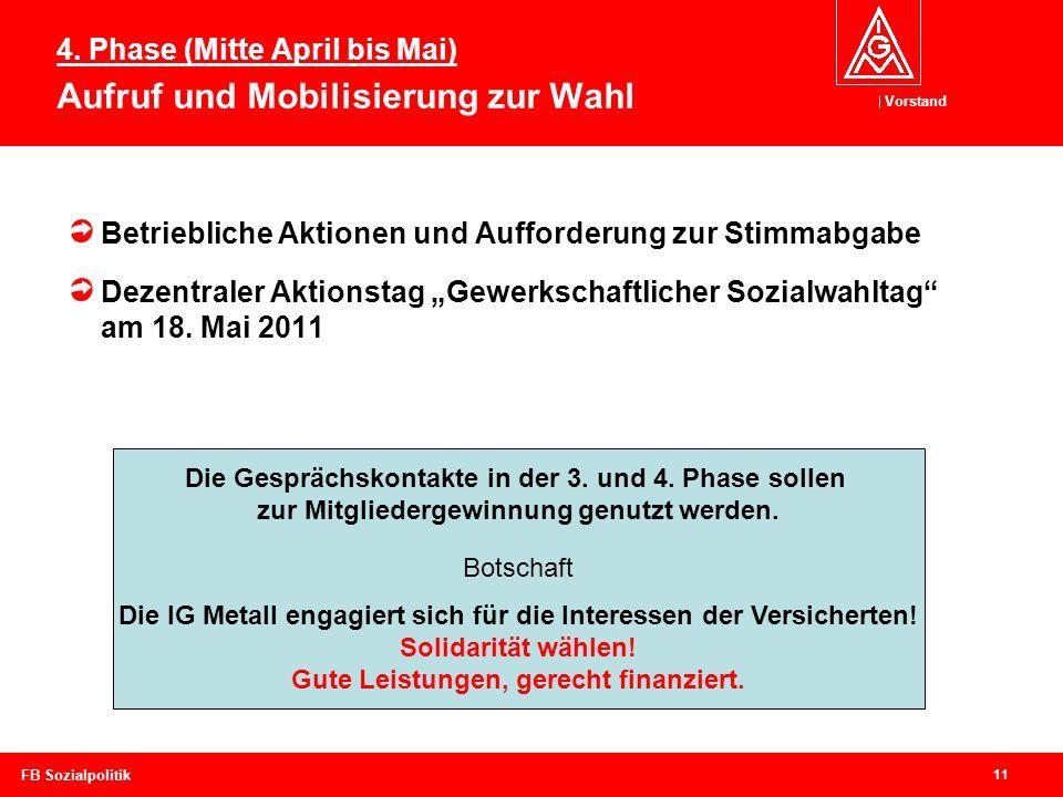 4. Phase (Mitte April bis Mai) Aufruf und Mobilisierung zur Wahl