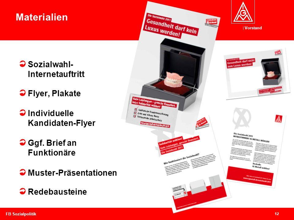 Materialien Sozialwahl- Internetauftritt Flyer, Plakate