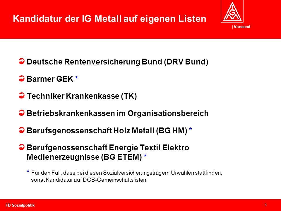 Kandidatur der IG Metall auf eigenen Listen