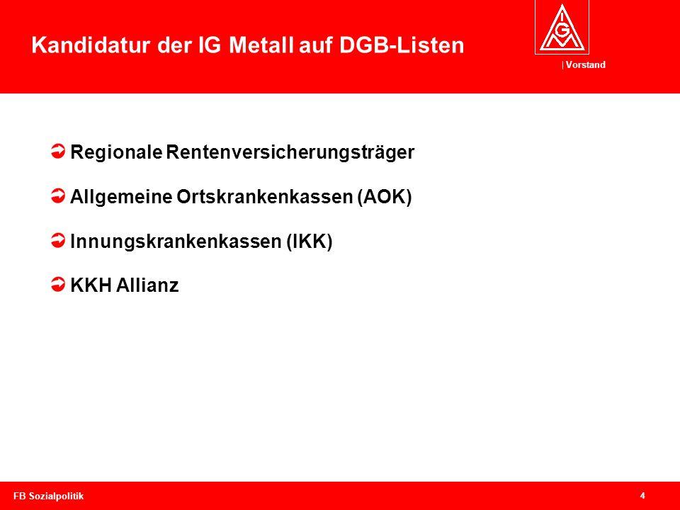 Kandidatur der IG Metall auf DGB-Listen