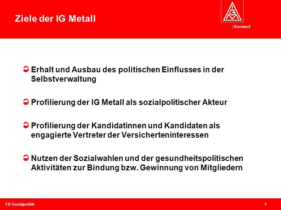 Ziele der IG Metall Erhalt und Ausbau des politischen Einflusses in der Selbstverwaltung. Profilierung der IG Metall als sozialpolitischer Akteur.