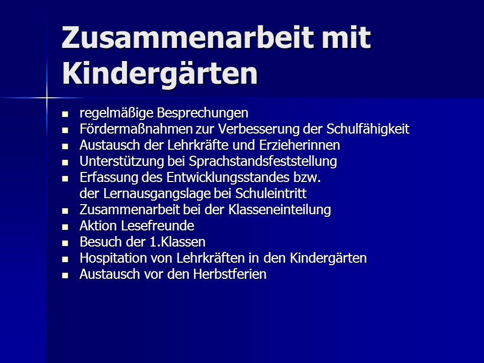 Zusammenarbeit mit Kindergärten