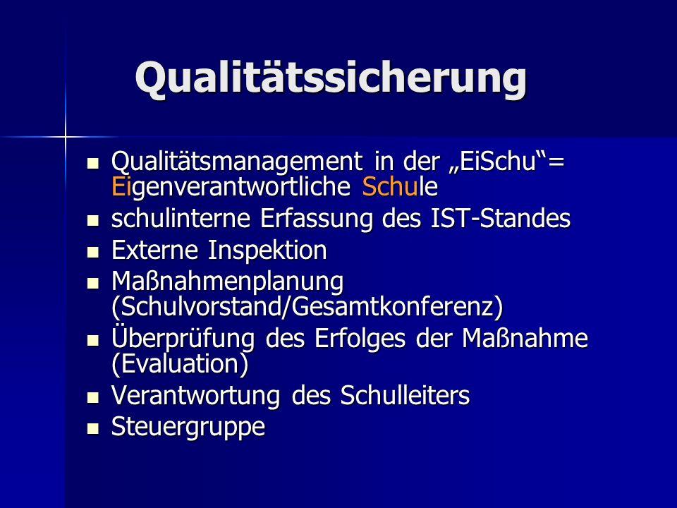 """Qualitätssicherung Qualitätsmanagement in der """"EiSchu = Eigenverantwortliche Schule. schulinterne Erfassung des IST-Standes."""
