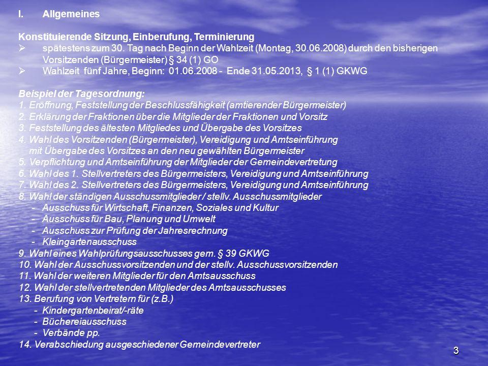 Allgemeines Konstituierende Sitzung, Einberufung, Terminierung.