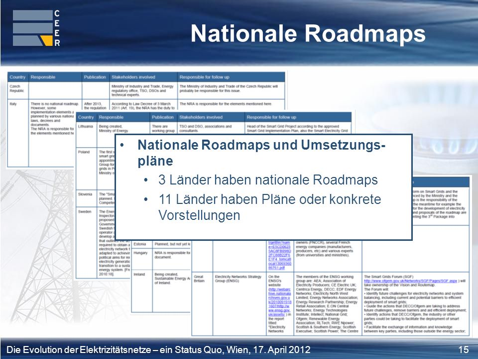 Nationale Roadmaps Nationale Roadmaps und Umsetzungs- pläne