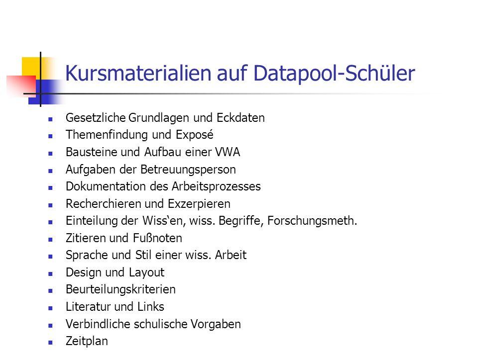 Kursmaterialien auf Datapool-Schüler