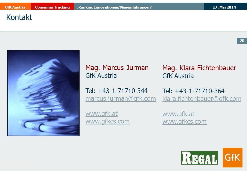 Kontakt Mag. Marcus Jurman Mag. Klara Fichtenbauer GfK Austria