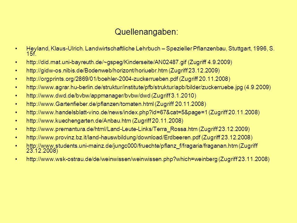 Quellenangaben: Heyland, Klaus-Ulrich. Landwirtschaftliche Lehrbuch – Spezieller Pflanzenbau, Stuttgart, 1996, S. 15f.