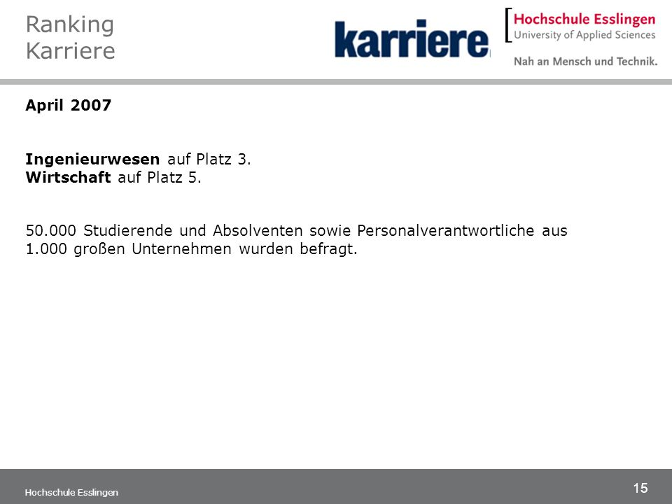 Ranking Karriere April 2007 Ingenieurwesen auf Platz 3.