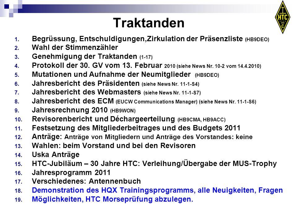 Traktanden Begrüssung, Entschuldigungen,Zirkulation der Präsenzliste (HB9DEO) Wahl der Stimmenzähler.