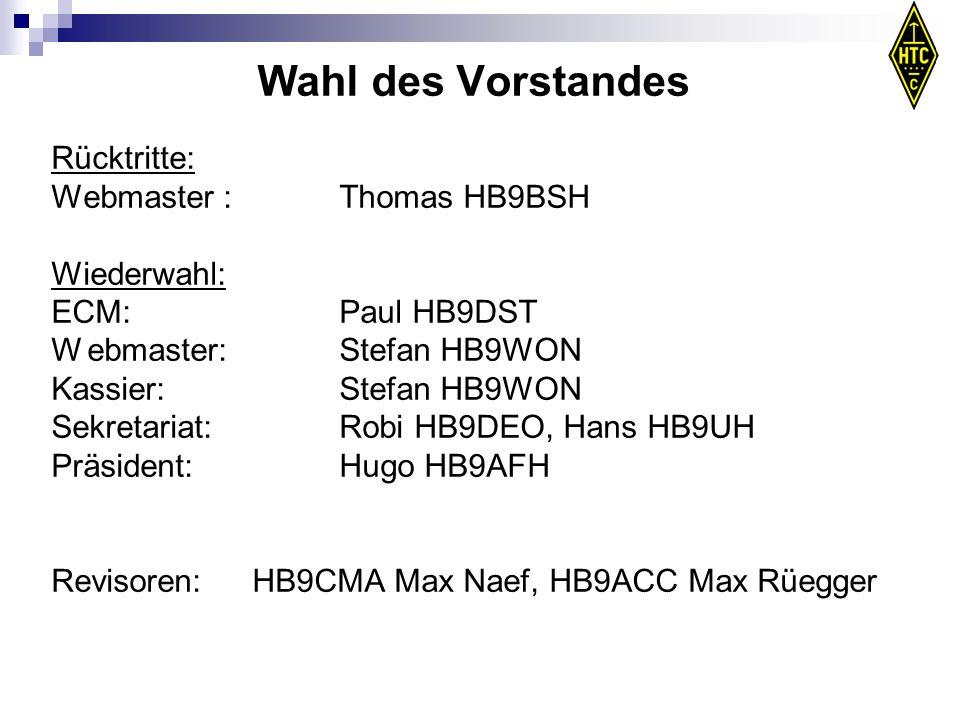 Wahl des Vorstandes Rücktritte: Webmaster : Thomas HB9BSH Wiederwahl: