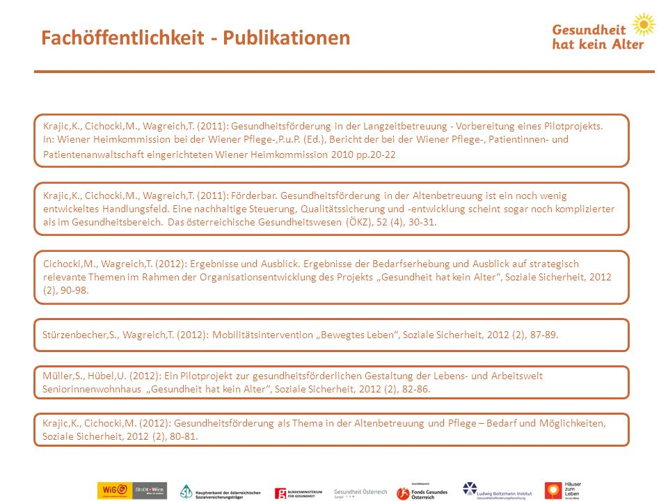 Fachöffentlichkeit - Publikationen