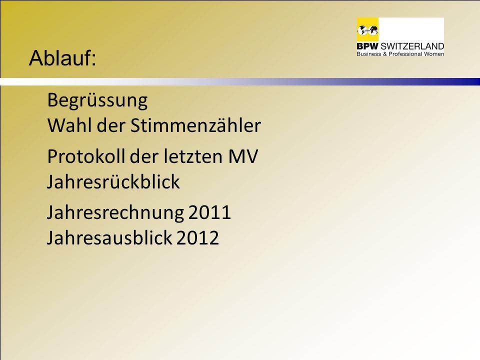 Ablauf: Begrüssung Wahl der Stimmenzähler Protokoll der letzten MV Jahresrückblick Jahresrechnung 2011 Jahresausblick 2012