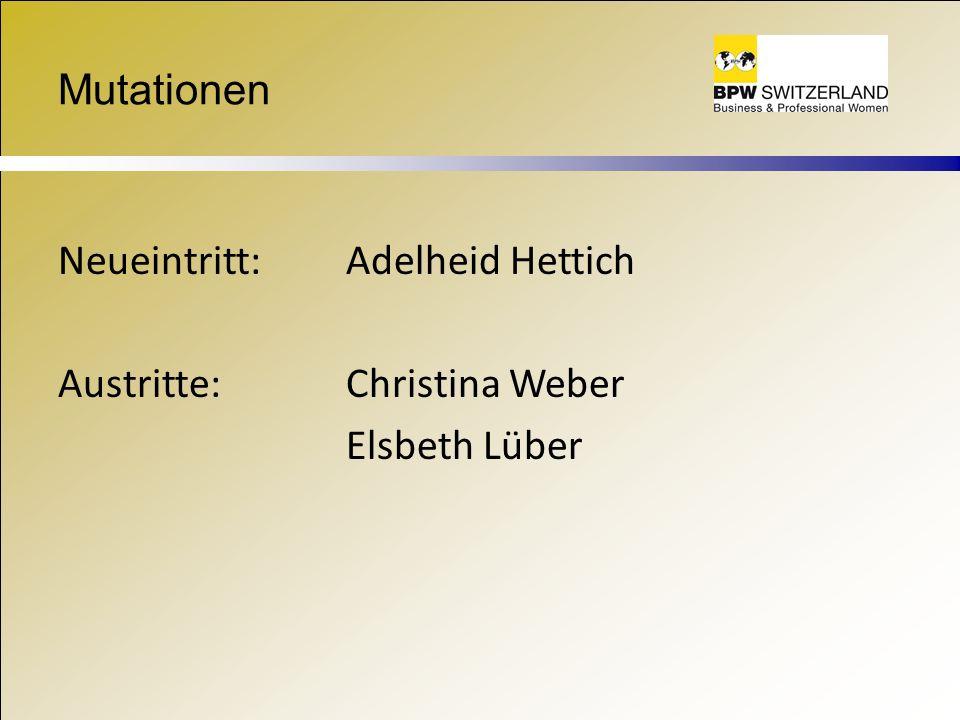 Mutationen Neueintritt: Adelheid Hettich Austritte: Christina Weber Elsbeth Lüber