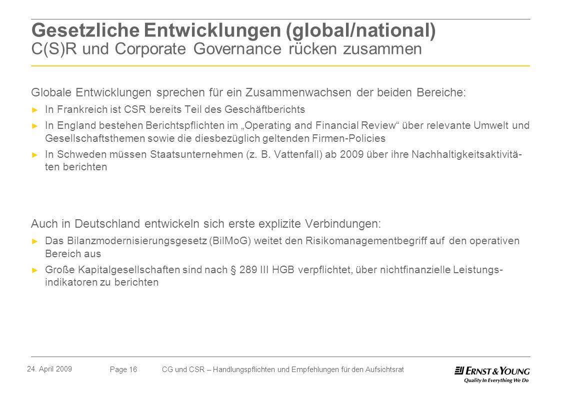 Gesetzliche Entwicklungen (global/national) C(S)R und Corporate Governance rücken zusammen