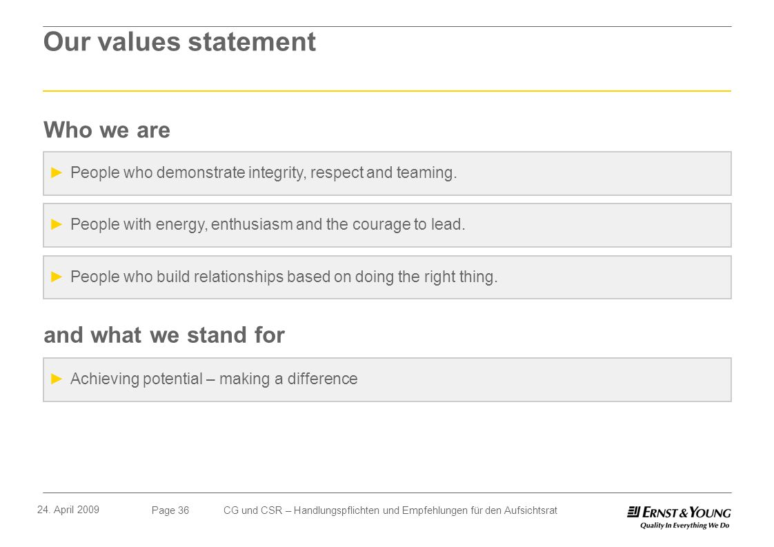 Our values statement Who we are and what we stand for