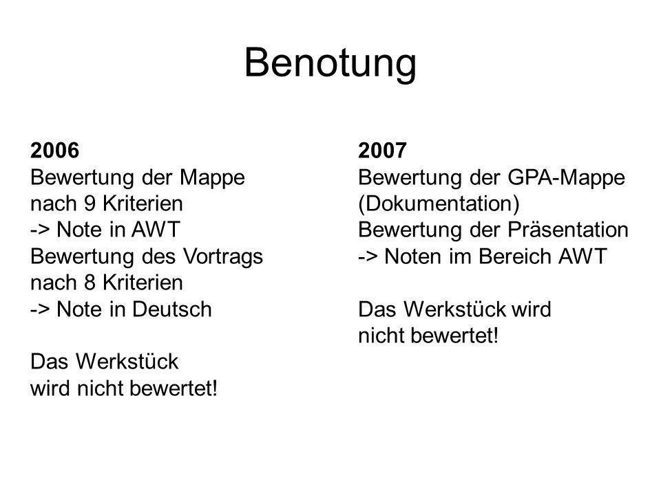 Benotung 2006 Bewertung der Mappe nach 9 Kriterien -> Note in AWT