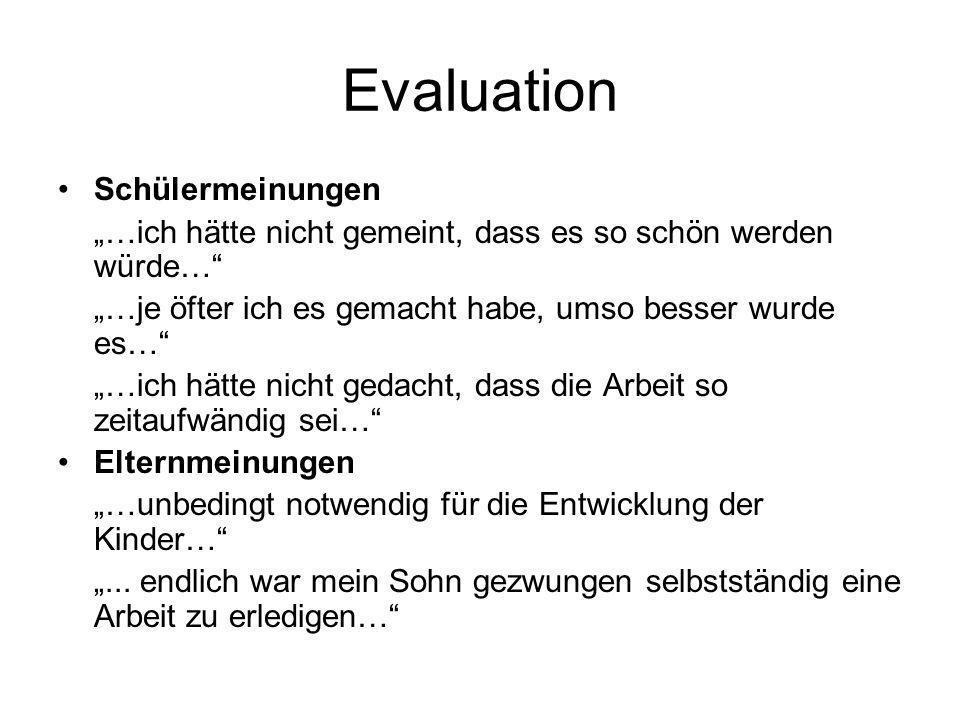 Evaluation Schülermeinungen
