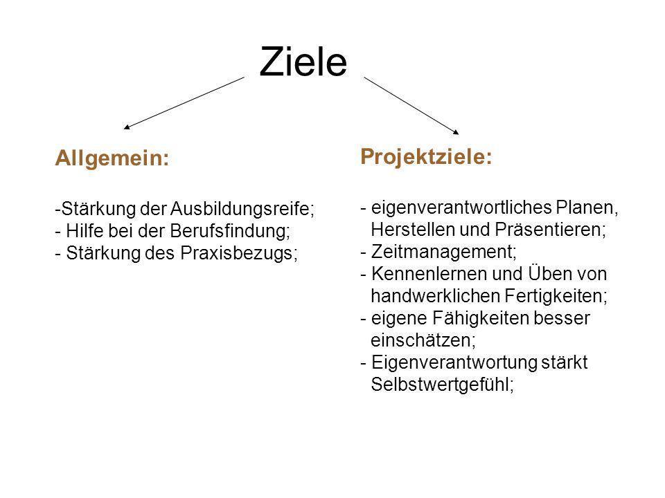 Ziele Allgemein: Projektziele: Stärkung der Ausbildungsreife;