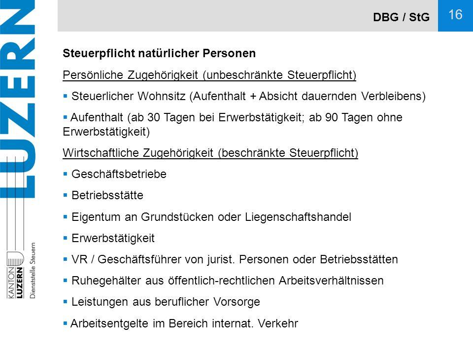 DBG / StG Steuerpflicht natürlicher Personen. Persönliche Zugehörigkeit (unbeschränkte Steuerpflicht)