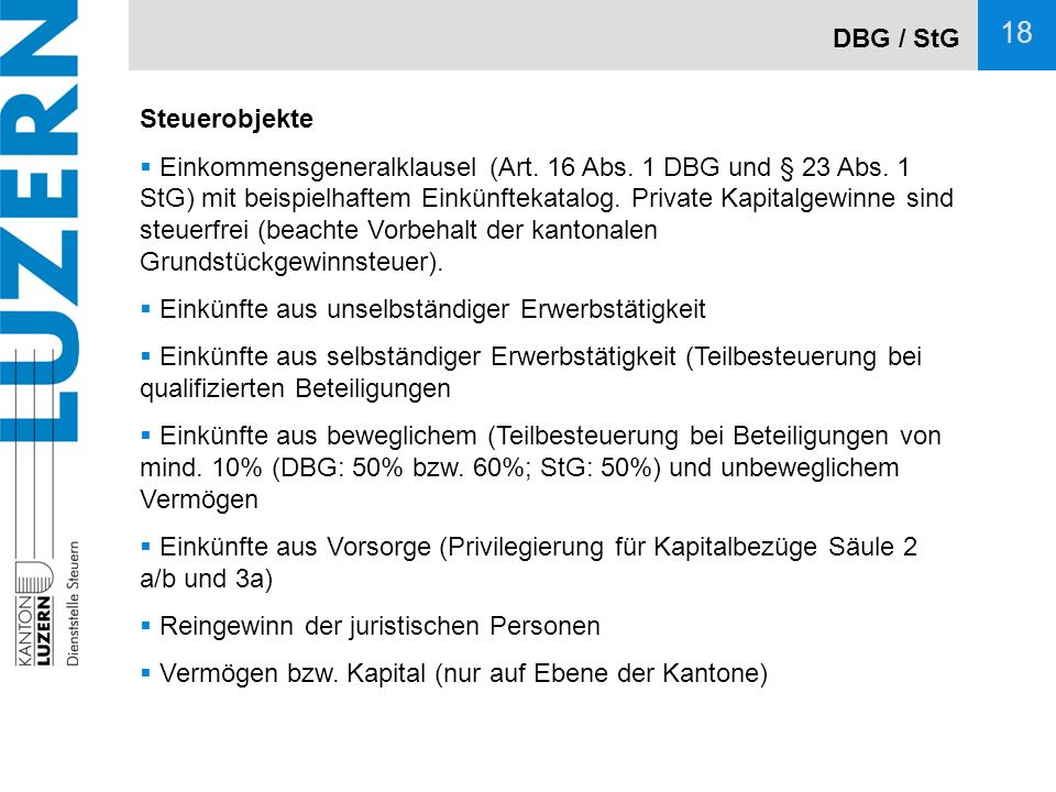 DBG / StG Steuerobjekte.