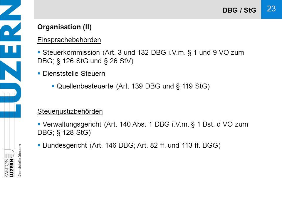 DBG / StG Organisation (II) Einsprachebehörden. Steuerkommission (Art. 3 und 132 DBG i.V.m. § 1 und 9 VO zum DBG; § 126 StG und § 26 StV)