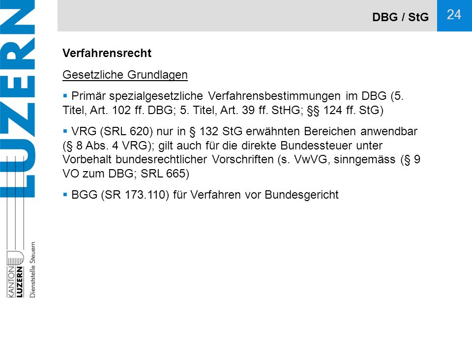 DBG / StG Verfahrensrecht. Gesetzliche Grundlagen.