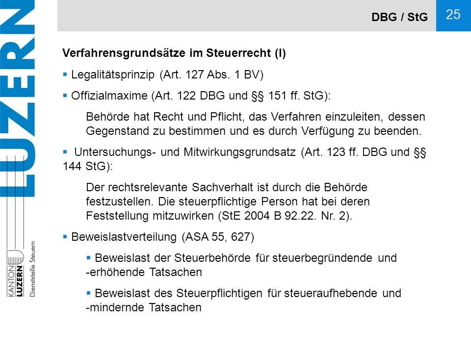 DBG / StG Verfahrensgrundsätze im Steuerrecht (I) Legalitätsprinzip (Art. 127 Abs. 1 BV) Offizialmaxime (Art. 122 DBG und §§ 151 ff. StG):