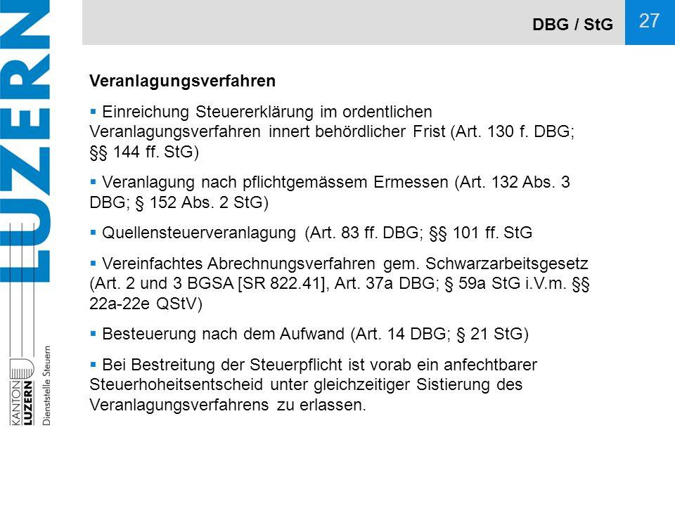 DBG / StG Veranlagungsverfahren.