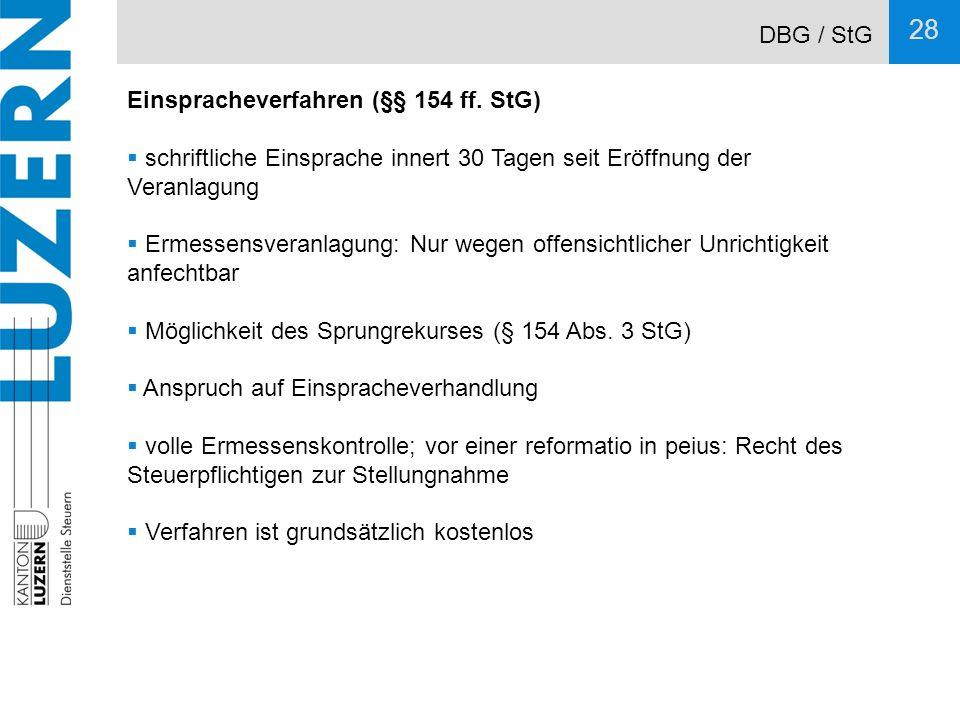 DBG / StG Einspracheverfahren (§§ 154 ff. StG) schriftliche Einsprache innert 30 Tagen seit Eröffnung der Veranlagung.