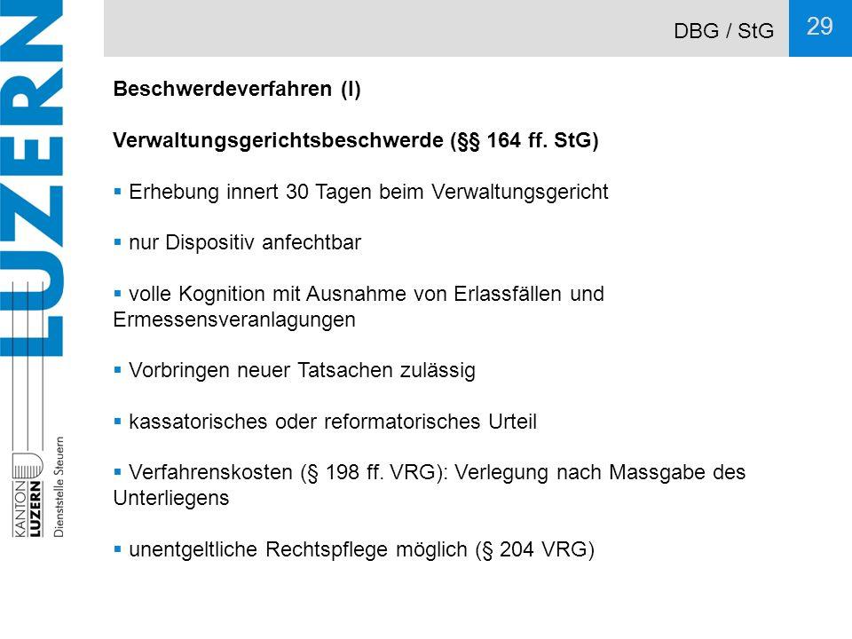 DBG / StG Beschwerdeverfahren (I) Verwaltungsgerichtsbeschwerde (§§ 164 ff. StG) Erhebung innert 30 Tagen beim Verwaltungsgericht.