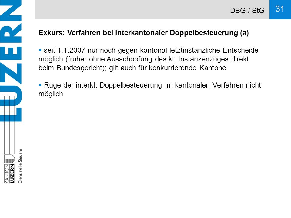 DBG / StG Exkurs: Verfahren bei interkantonaler Doppelbesteuerung (a)