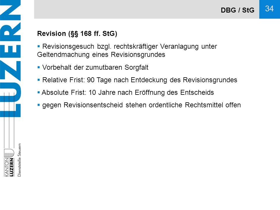 DBG / StG Revision (§§ 168 ff. StG) Revisionsgesuch bzgl. rechtskräftiger Veranlagung unter Geltendmachung eines Revisionsgrundes.