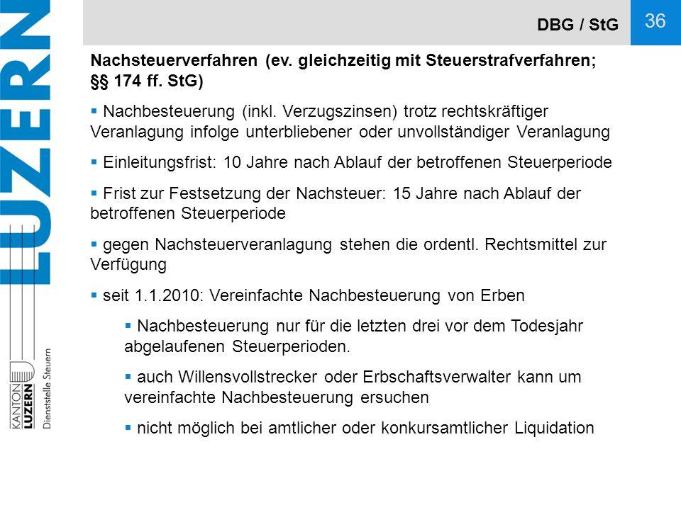 DBG / StG Nachsteuerverfahren (ev. gleichzeitig mit Steuerstrafverfahren; §§ 174 ff. StG)