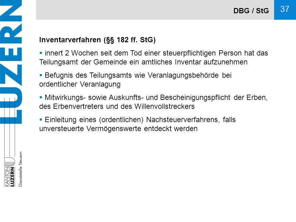 DBG / StG Inventarverfahren (§§ 182 ff. StG)