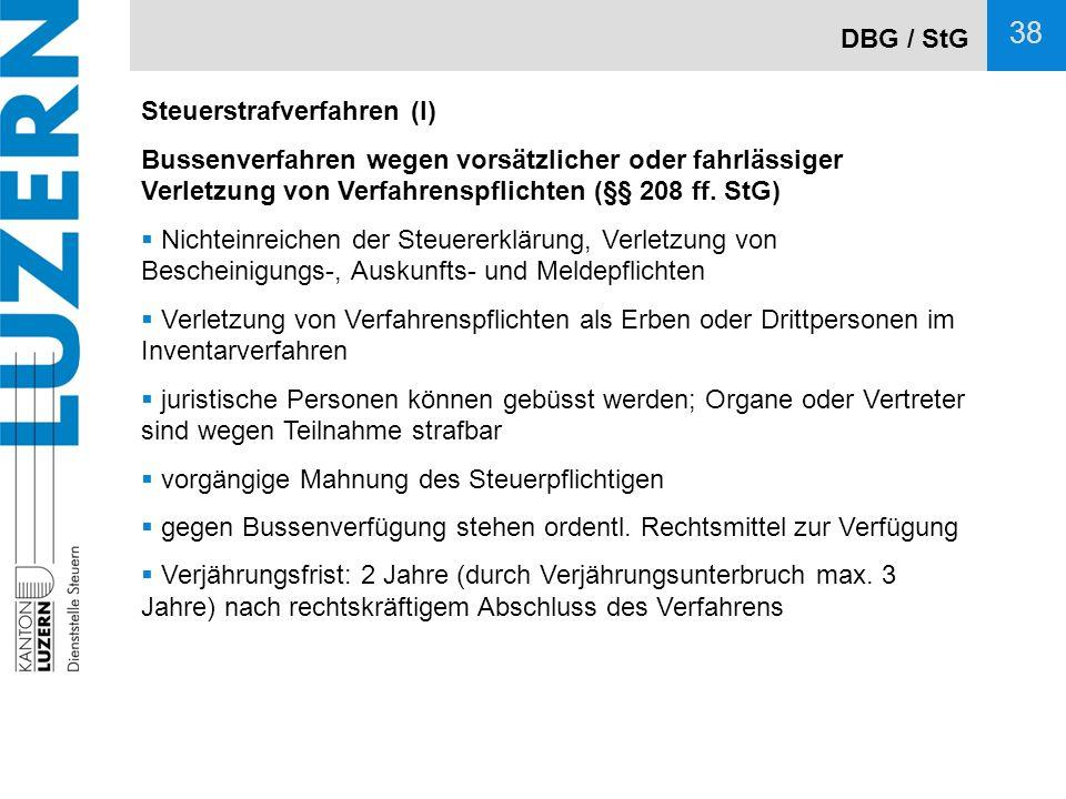 DBG / StG Steuerstrafverfahren (I) Bussenverfahren wegen vorsätzlicher oder fahrlässiger Verletzung von Verfahrenspflichten (§§ 208 ff. StG)