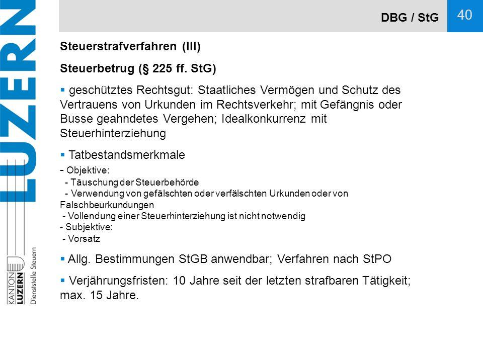 DBG / StG Steuerstrafverfahren (III) Steuerbetrug (§ 225 ff. StG)