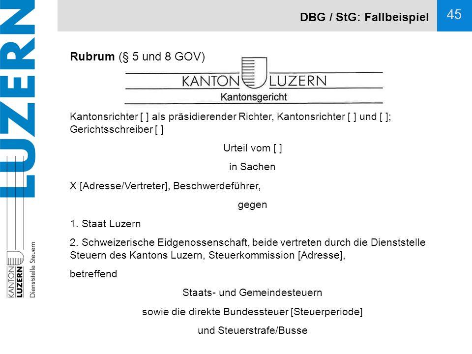 DBG / StG: Fallbeispiel