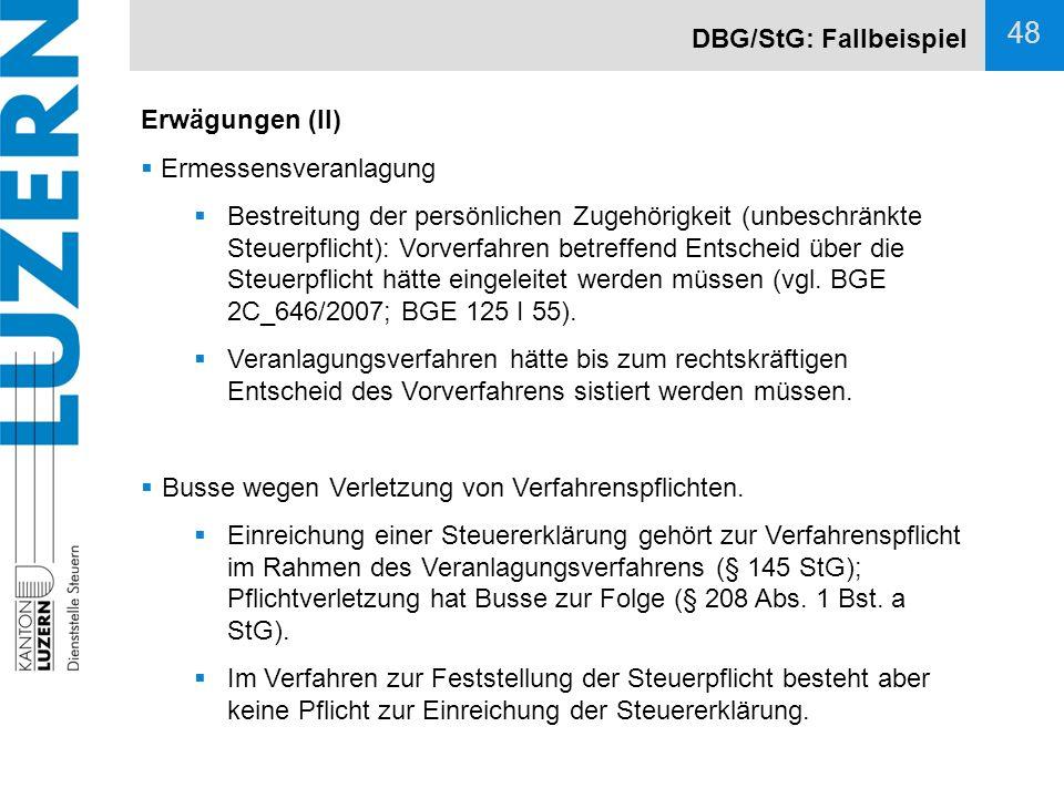 DBG/StG: Fallbeispiel