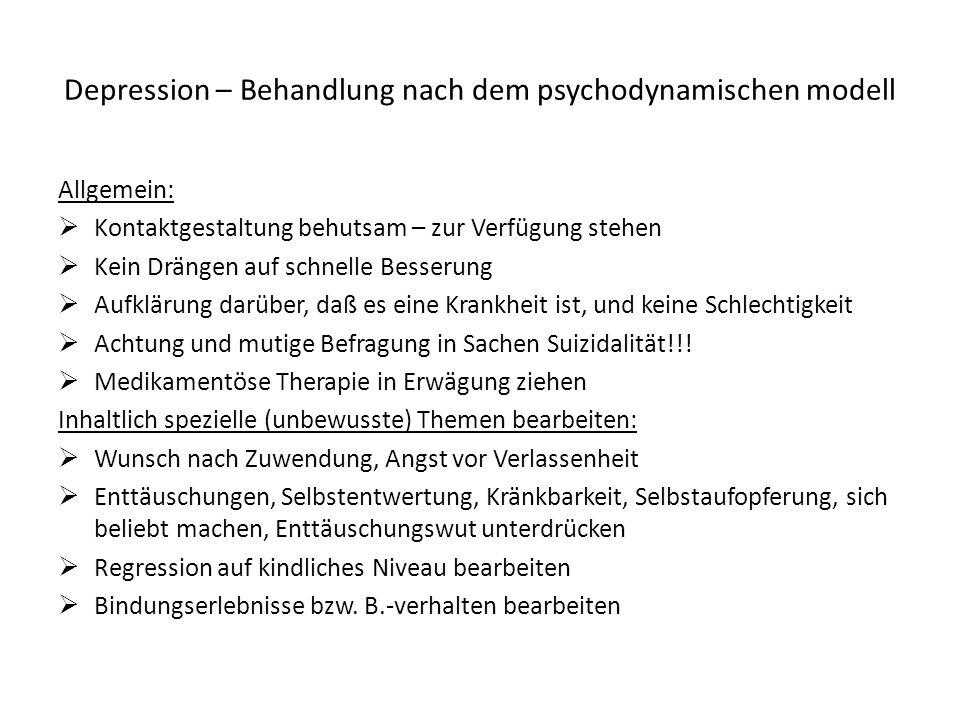 Depression – Behandlung nach dem psychodynamischen modell