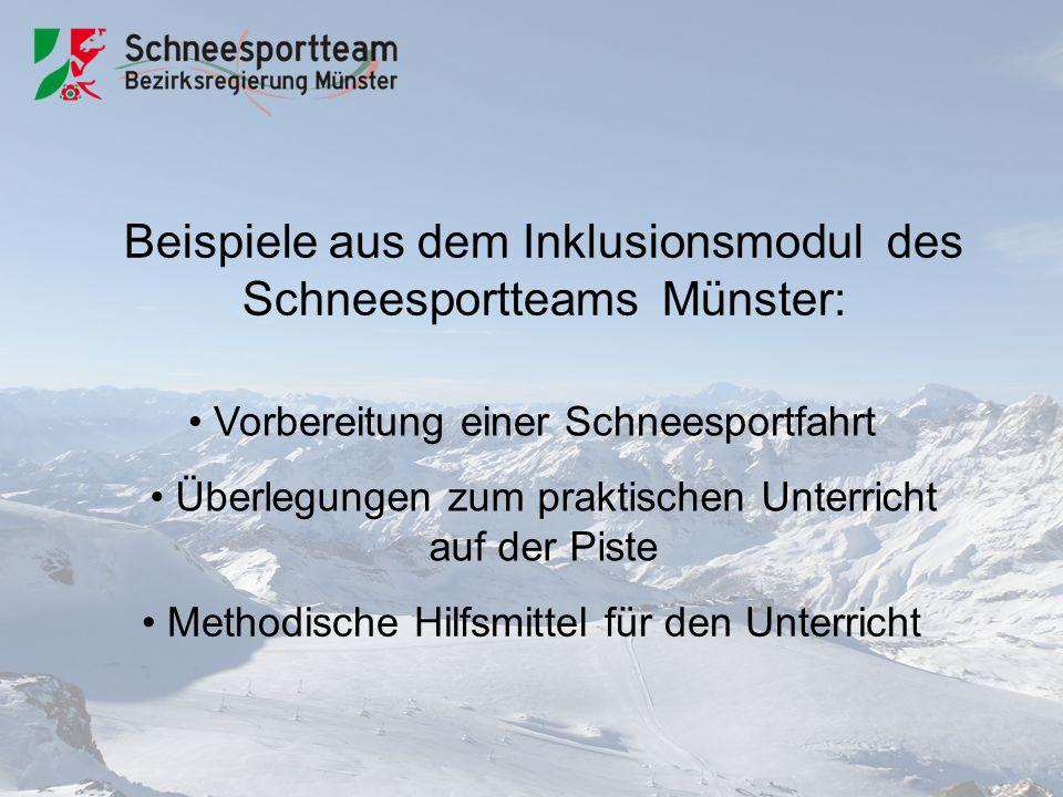 Beispiele aus dem Inklusionsmodul des Schneesportteams Münster: