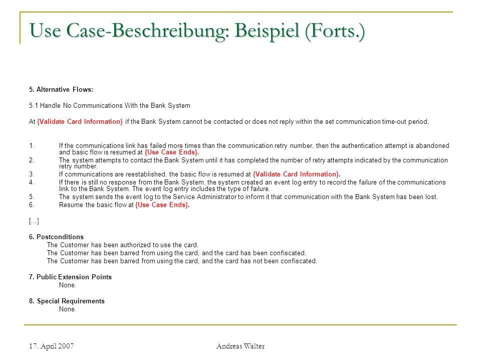 Use Case-Beschreibung: Beispiel (Forts.)