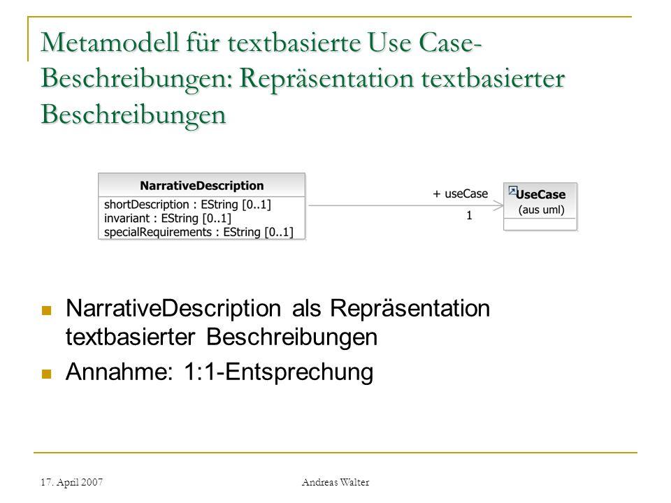 Metamodell für textbasierte Use Case-Beschreibungen: Repräsentation textbasierter Beschreibungen