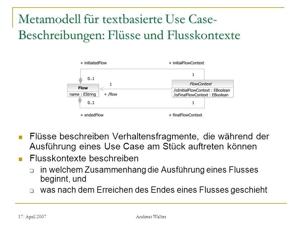 Metamodell für textbasierte Use Case-Beschreibungen: Flüsse und Flusskontexte