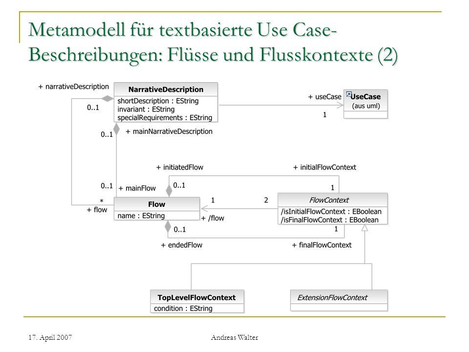 Metamodell für textbasierte Use Case-Beschreibungen: Flüsse und Flusskontexte (2)