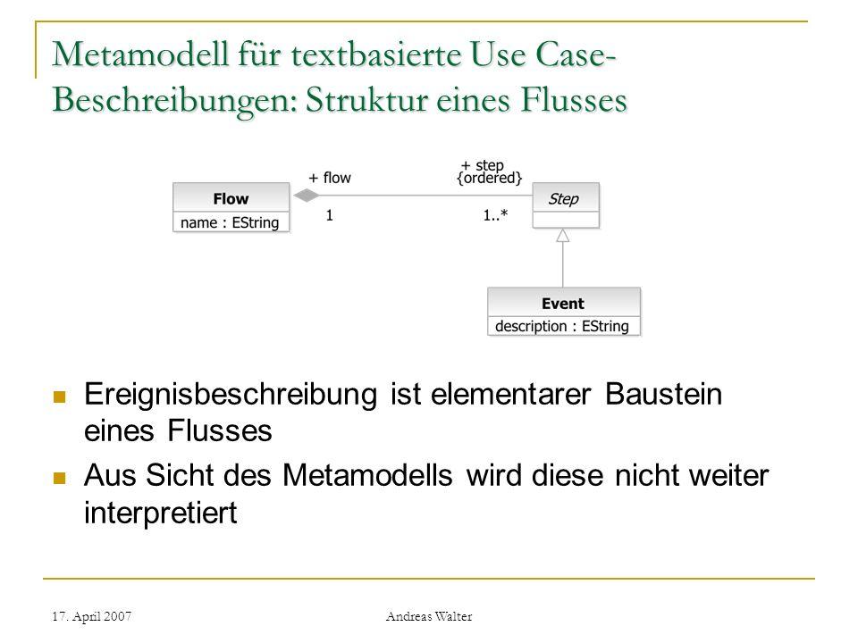 Metamodell für textbasierte Use Case-Beschreibungen: Struktur eines Flusses