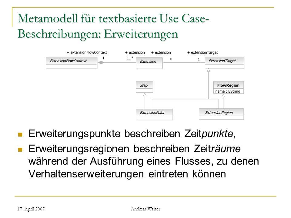 Metamodell für textbasierte Use Case-Beschreibungen: Erweiterungen