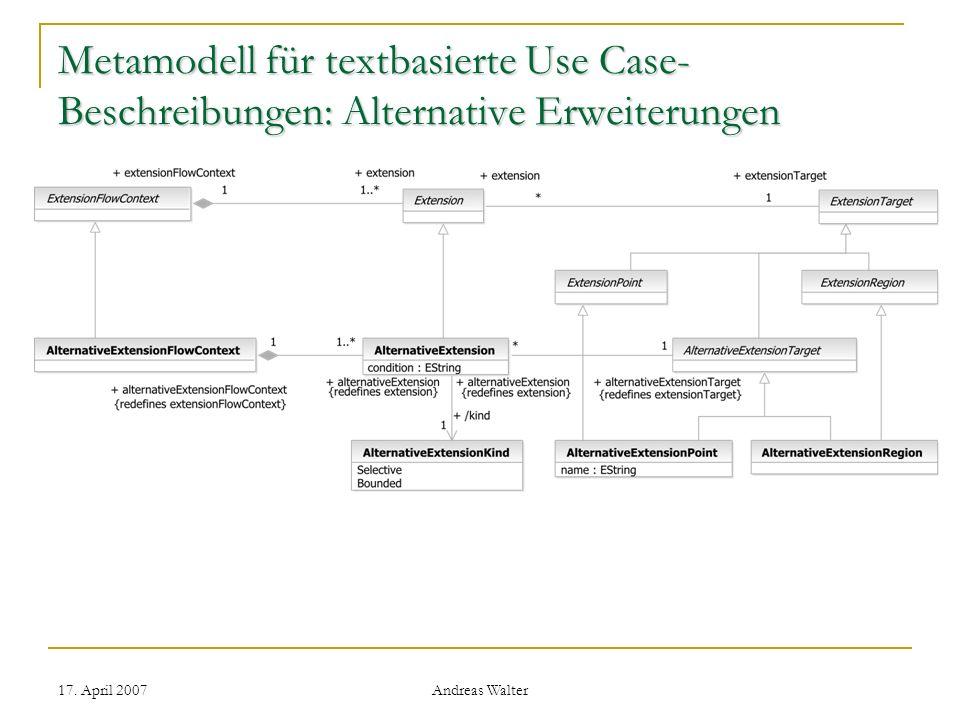 Metamodell für textbasierte Use Case-Beschreibungen: Alternative Erweiterungen